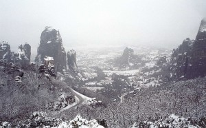 meteora winter landscape
